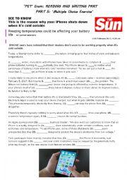 English Worksheet: �Ice to know� Iphones vs Cold Weather- �PET� Exam- PARTS 3&5- CAMBRIDGE EXAM