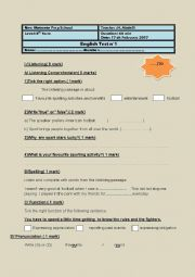 English Worksheet: listening test