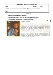 English Worksheet: 9th grade test tecnhnology 2nd part
