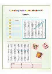 English worksheet: Learning how to write the date