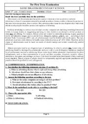 English Worksheet: advertising ethics