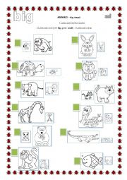 English Worksheet: ANIMALS - big or small