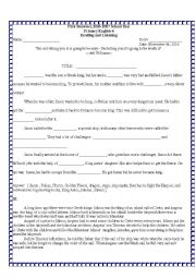 English Worksheet: Jason and the Argonauts, King Minos