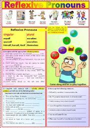 English Worksheet: Reflexive Pronouns  +  Exercises + Key