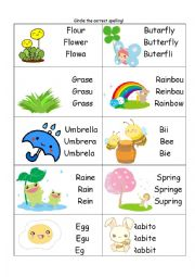 Spring Spelling Multichoice Worksheet
