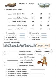 English Worksheet: Before After