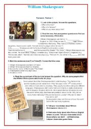 English Worksheet: William Shakespeare (Pair work)