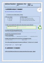 English Worksheet: Ordinary Test1 ( semester 2) 9th graders