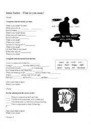 English Worksheet: Song What do you mean? - Justin Bieber
