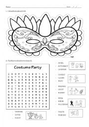 Carnival mask and wordsearch