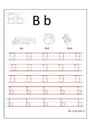 handwriting letter B-b