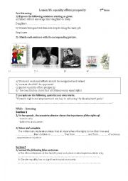 English Worksheet: Lesson 16 equality offers prosperity