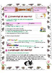 English Worksheet: mid semester test n�2 7th form