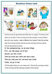 English Worksheet: Everyday activities home task