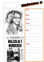 English Worksheet: malcolm X BIO
