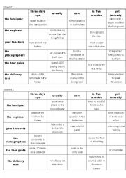English Worksheet: tenses Q&A game