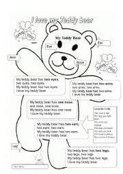 English worksheet: I love my Teddy Bear