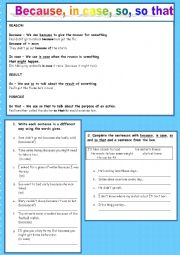 English worksheet: Clauses of reason, result and purpose