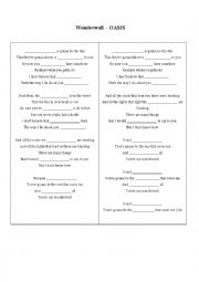 English Worksheet: Ed Sheeran - Thinking Out Loud / Oasis - Wonderwall