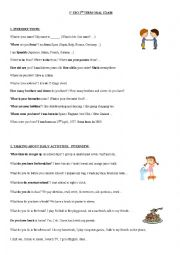 ORAL TEST for elementary English students