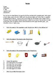 English Worksheet: Pancake day recipe