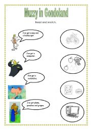 English Worksheet: Muzzy in Gondoland - Link words and pictures