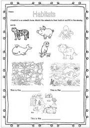 English Worksheet: Animal habitats - jungle, farm & sea