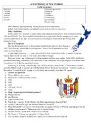English Worksheet: Brief history of New Zealand