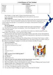 English Worksheet: Brief history of New Zealand