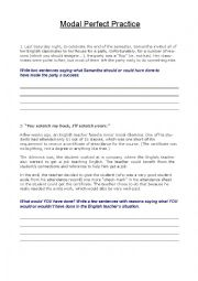 English Worksheet: A few Modal Perfect practice scenarios