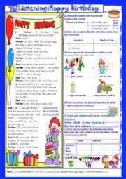 English Worksheet: Happy Birthday: Mid semester 2Test 1 :7th form(with Key)