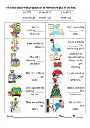 English Worksheet: Preposition of movement