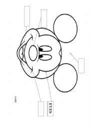 English Worksheet: MICKEY MOUSE - MY FACE
