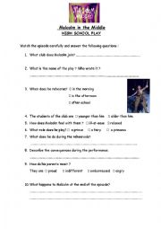 English Worksheet: Malcolm in the Middle   High school play