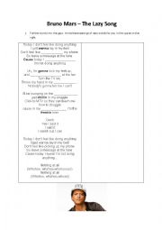 English Worksheet: Bruno Mars The LAzy song