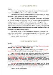 English Worksheet: Rewrite the letter in British English