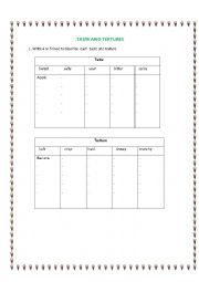 English Worksheet: Describing food taste and textures