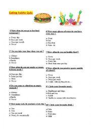 English Worksheet: Eating habits quiz