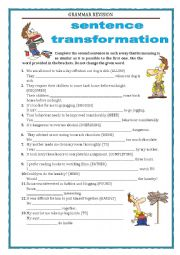 English Worksheet: GRAMMAR REVISION - SENTENCE TRANSFORMATION part 2 with key