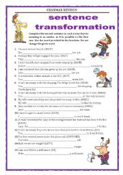 GRAMMAR REVISION - SENTENCE TRANSFORMATION part 3 -MODALS  with key