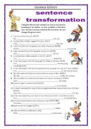 English Worksheet: GRAMMAR REVISION - SENTENCE TRANSFORMATION part 3 -MODALS  with key