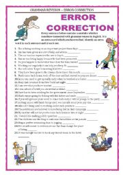 English Worksheet: GRAMMAR REVISION - ERROR CORRECTION - part 1