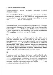 English Worksheet: Reading activity Star Wars The Force Awakens