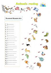 English Worksheet: Animals racing