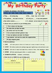 English Worksheet: My Birthday Party - 2 PAGES!