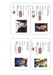 English Worksheet: Royal Family ID cards