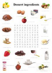 Dessert food ingredients