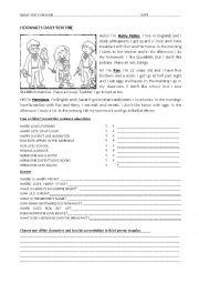 English Worksheet: Hogwarts Daily Routine Harry Potter