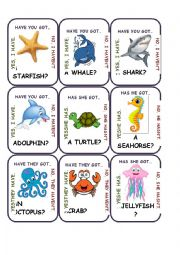 English Worksheet: Go Fish - Animals 1