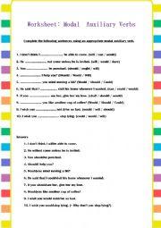 English Worksheet: Modal Auxiliary Verbs